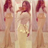 amazing maxi dress - Amazing Long Maxi Evening Dresses Jewel Neck Long Sleeve Floor Length Party Evening Dress With Peplum Mermaid Gowns Prom Dresses LA