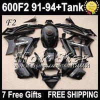 Cheap ALL Black +Tank For HONDA 1992 1993 CBR600F2 Gloss BLK CBR 600F2 91 92 93 94 S1761 CBR600 FS CBR 600 F2 1991 1994 Fairings