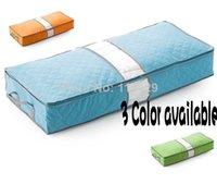 Wholesale 3 Color cm Underbed Closet Storage bag Case Clothes Divider Organiser quilt Organizer Under Bed Wine bamboo Pouch