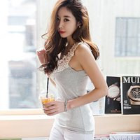blouse free size - Tank tops petal hollow out neck lace cotton vest free size candy colors fanshion blouse tees NEW summer women tees DXB15026