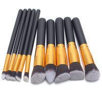Wholesale Black Golden Wood Blending Makeup Brush Kit Professional Cosmetic Set Make up Brushes Tools beauty DHL