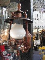 antique mission lamp - American classical E27 single head iron kerosene wall lamp white glass shade antique retro coffee bronze AC220 v