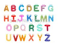 Wholesale Children s creative gifts toys wooden magnetic stickers wooden alphabet fridge magnets set