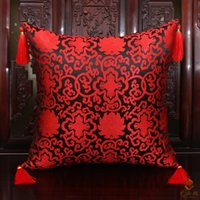Wholesale Latest Double Fancy Pillow Cases Fashion Tassel inch inch inch High End Luxury Natural Silk Brocade Zipper Cushion Covers Couch Chair