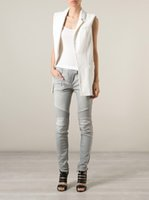 women ruffle pants - 2016 BALMAIN Women Gray Washed Ribbed Zip Moto Skinny Denim Jeans Brand New Sz
