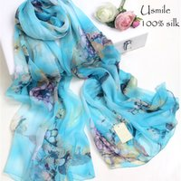 Elegant baby scarf length - Aqua Blue Sandbech Shawl Luxury Fashion Cheap Silk Scarves and shawls Baby Doll Scarf with Print Flower cm Length women hijab