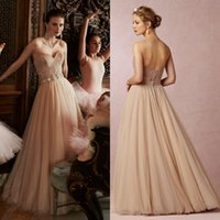 Wholesale Vintage Prom Dresses Long Sweetheart Neckline A Line Floor Length Tulle and Lace Champagne Formal Evening Dress