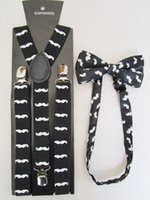 Cheap Free Shipping 2015 New Fashion Women Black Mustache Printed Suspenders And Bow Ties Sets