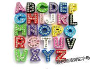 Wholesale pieces Zinc Alloy fitting MM Full Rhinestone Slide letters A Z diy Slide Charms Fit MM women Bracelets pet Collars