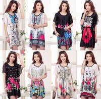 summer dresses - 2015 Fashion Bohemian Flower Print Women Dress Casual Batwing Sleeve Chiffon Summer Dress Plus Size Clothing Sale