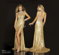 Wholesale Sparkly Gold Sequined Pageant Dresses For Women Plus Size Beaded Formal Evening Gowns Mermaid Split Side High Neck Sheer Long Sleeves Back