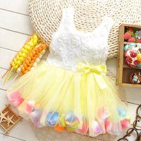 Cheap 2015 Summer lace flower girls Rose tops tutu dresses princess dress Children baby kids sweet petals dress clothing clothes wholesale