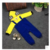 Wholesale baby rompers outfit long sleeve romper autumn winter baby hooded despicable me rompers jumpsuit clothing infant minions costume cosplay m527