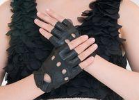 Wholesale Fingerless genuine leather glove goatskin cycling glove sports glove half finger bike women gloves