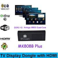 Wholesale Mini PC Bluetooth Android TV Stick XBMC Miracast DLNA Amlogic M805 GB GB MK808B Plus HDMI Quad Core TV Dongle