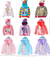 Wholesale new arrive outerwear My little pony princes Cinderella Sweater hoodies sportswear girls Cartoon Hooded coat jacket D365