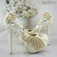 Cheap Less money more love New Wedding shoes design pearl diamond flowers Beautiful pattern Waterproof Married shoes High thin heels Dress shoes