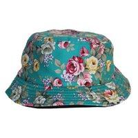 floral bucket hat - 2014 Hot Sale Promotion Cheap Unisex Cotton Fishing Cap Fisherman Reversible Floral Bucket Hat