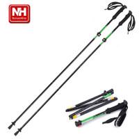 Wholesale NatureHike Aluminum Alloy Ultralight Adjustable Telescopic Sections Alpenstock walking Hiking stick Trekking Pole cm