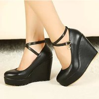 mary jane - New Cheap Fashion Wedges Mary Jane Ankle Strap High Heel Platform Suede Women Pumps Shoes GG1060