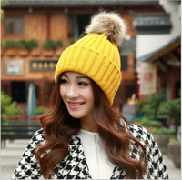 Wholesale 2015 AAA quality color girl female women winter hat warm thicken pure color knit cap outdoor fashion wool handmade beanie topB1529