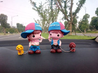 Wholesale Cute Cartoon Lovers Car Decoration Boy And Girl With Dog Home Decoration Three Styles Creative Gifts