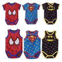Wholesale 3pcs set Sleeveless Short sleeve Baby Rompers superhero Superman Batman spider man Style star baby rompers One piece garment