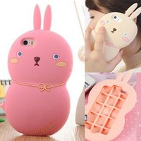 Wholesale iPhone6 D Cute Rabbit Soft Silicone Case For iPhone Plus Cartoon Bunny Bowknot Monomate Mozzi Cover Shockproof MashiMaro Shell DHL