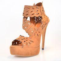 Cheap Brown Sandal For Women Hollow-out Suede Women Stiletto Heel Platform Sandal Open Toe 2015 Jelly Sandal High Heel Summer Shoes Stilettos