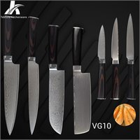 best steel for chef knives - K brand damascus knives high end Japanese VG10 stainless steel color wood handle kitchen knives pieces set best gifts for chef