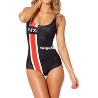Wholesale The new European and American stars of digital printing and retail N7 sexy black swimsuit Sst