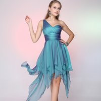 Wholesale Simple Party Dresses A Line One Shoulder Asymmetrical Chiffon Draping Prom Dresses Wp1801