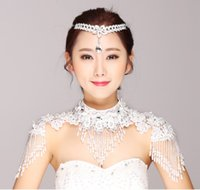 Jewelry Sets bead set designs - 2016 Latest Design Wedding Accessories Bridal Jewelry Handmade Crystals Shoulder Chain Including Headpiece Lace Appliques Brides Jewelry