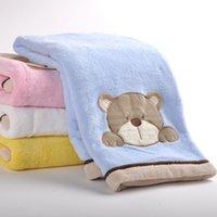 80cm*100cm Coral Fleece Pink Blue Yellow White MMY Brand Coral Fleece Solid Baby Blanket Children's Blankets Nursery Bedding Sets Cartoon Embroidered Warm Receiving Blankets Crib Blankets