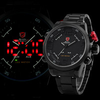 shark - New SHARK LED Digital Dual Core Stainless Full Steel Black White Alarm Outdoor Military Sports Fashion Casual Mens Quartz Army Watch SH108