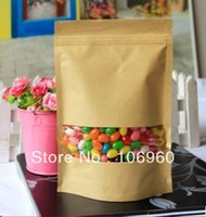 aluminum foil recyclable - visible Clear window Recyclable browm craft papery stand up zip lock bags pouch x20 x24cm