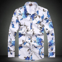 Wholesale 201 Large size Men s long sleeve shirt men casual shirt Slim young fashion print shirt influx of men