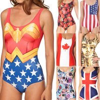 uk flag - Sexy Women One Pieces Swimwear Superman Wonder Women USA AU UK Flag Digital Print Swimsuit Sexy High Waist Bikini Bathing Suit