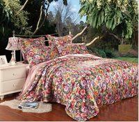 beautiful bedsheets - Floral flower silk bedding comforter set for queen king size duvet cover bedspread sheet bed in a bag sheet beautiful bedsheets