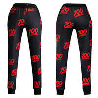 loose pants for women - 3d print Hundred points emoji Joggers pants for smile face pants women men casual sport loose cute cartoon