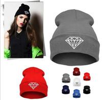 Moda sombrero de invierno de diamantes sombreros para las mujeres de punto para mujer de la gorrita tejida holgados capo cráneo Chunky almacenamiento sombreros, Baggy casquillo hembra caliente