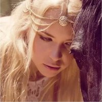 fashion hair circle - Hair Accessory Women Fashion Vintage Gold Plated Hollow Out Circle Multilayer Chains Tassel Headbands Jewelry SHR306