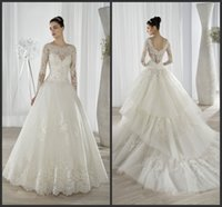 Cheap Lace Ball Gown Wedding Dresses 2016 Beaded Scoop Neckline Illusion Long Sleeves Tiered Tulle Demetrios Bridal Gowns 641 Chapel Length Train