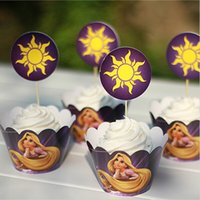beautiful paper cups - Beautiful Rapunzel Paper Cupcake Wrappers Decorating Boxes Baking Cups With Toppers Picks For Kids Xmas Birthday Party Decoration