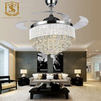 Wholesale european crystal ceiling light with fan inch invisible blades fan light for bedroom dining room