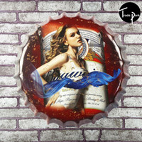 antique store advertising - 35 cm Round Sexy Bottle cap Advertising Plaque Metal Tin Sign Store Supermarket Restaurant Bar Club Pub Cafe Decor