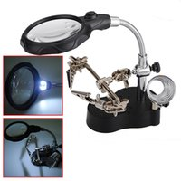 Wholesale X X LED Helping Hand Stand Clip Welded Hold Magnifier Clamp Glass Lens Magnifying Repair Loupe