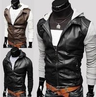 Wholesale Fall New Fashion Mens Korean Style Leather Jackets Men s Knitted Sleeve Design PU Leather Jacket With A Hood Motorcycle Men Coat