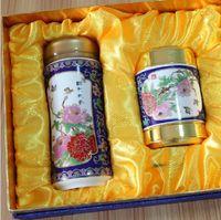 Wholesale Cloisonne ceramic mug creative business gift alloy Caddy Set Home Decoration Crafts