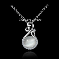 Wholesale 2014 New Design sterling silver opal pendant necklace fashion jewelry engagement gifts for women